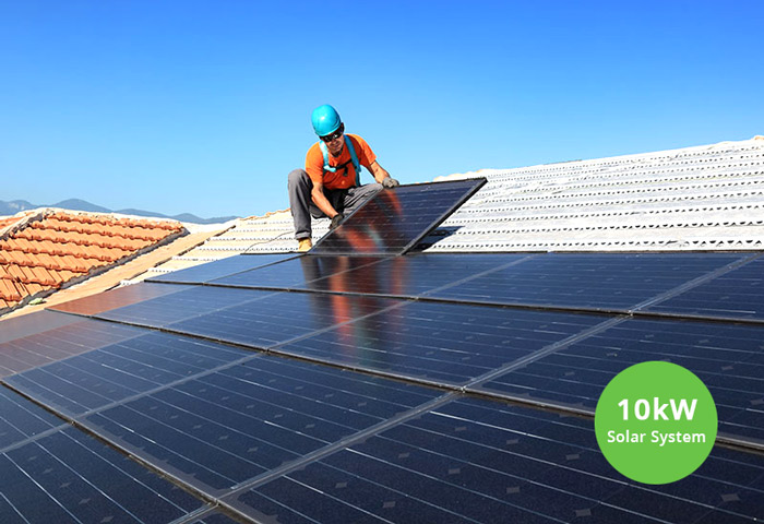 10kWh solar system being installed